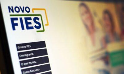 Portal oficial do Novo Fies, apresentando as opções para navegação no site