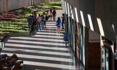 Corredor de uma universidade com a presença de alunos - ilustra ProUni