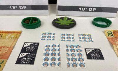selos de LSD apreendidos pela Polícia Civil