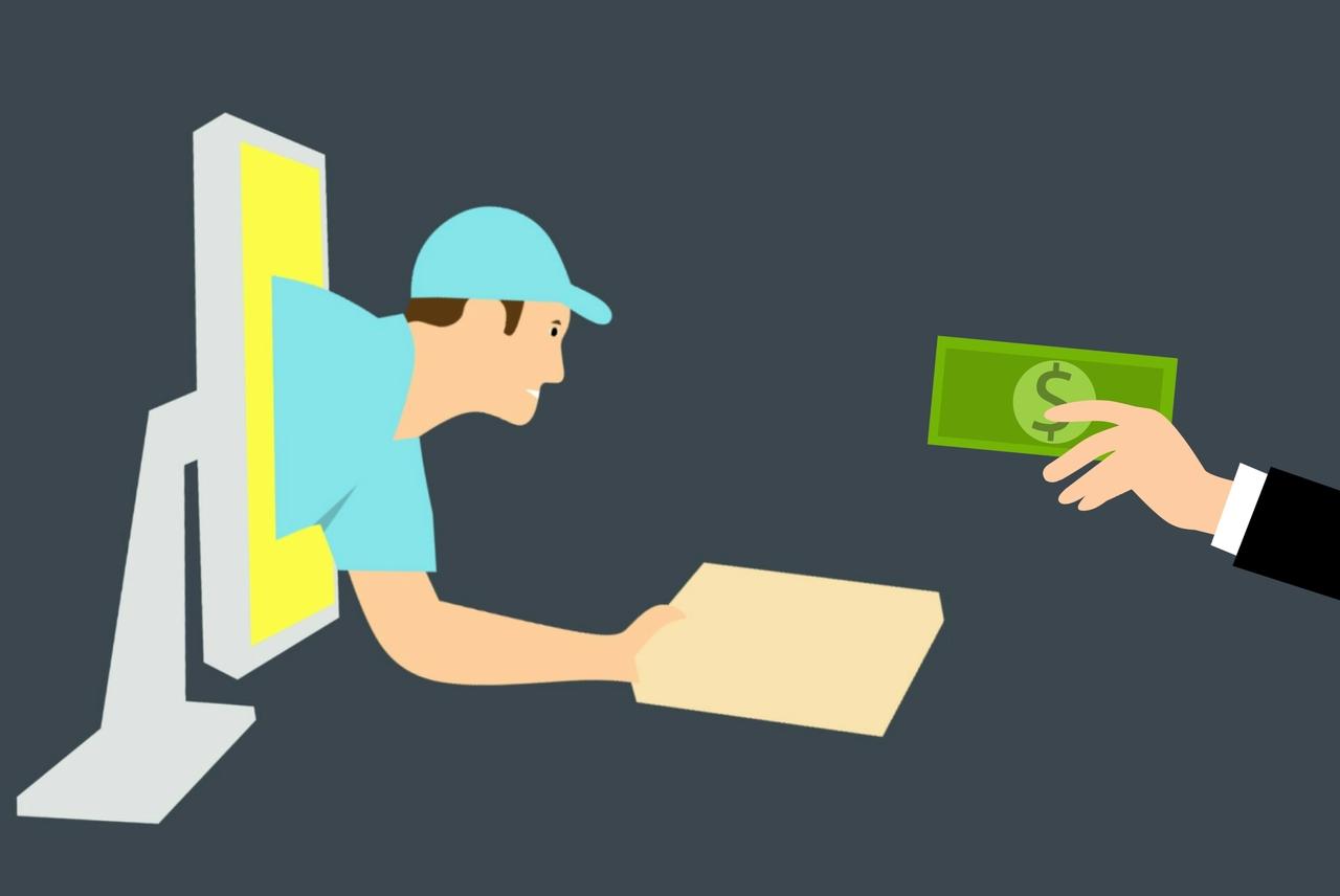 Ilustração de um vendedor entregando encomenda e recebendo o pagamento no e-commerce