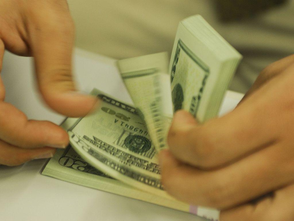 mão contando notas de dólar
